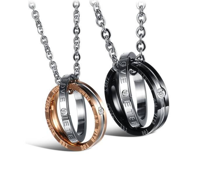 Hot Selling Titanium Steel Rhinestone Two Double Circle Ring Type Pendant Statement Couple Necklace