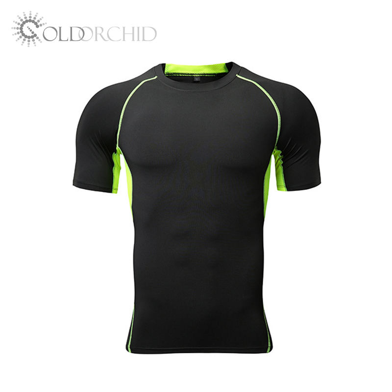 Highly Breathable Short Sleeve Cotton Gray Running Tight Mens Fitness T-Shirt Sport