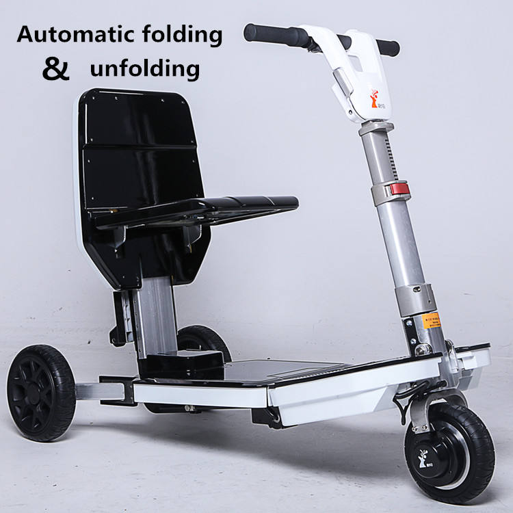 Automatically fold&unfold portable 3 wheel mobility disabled adult luggage scooter for elderly