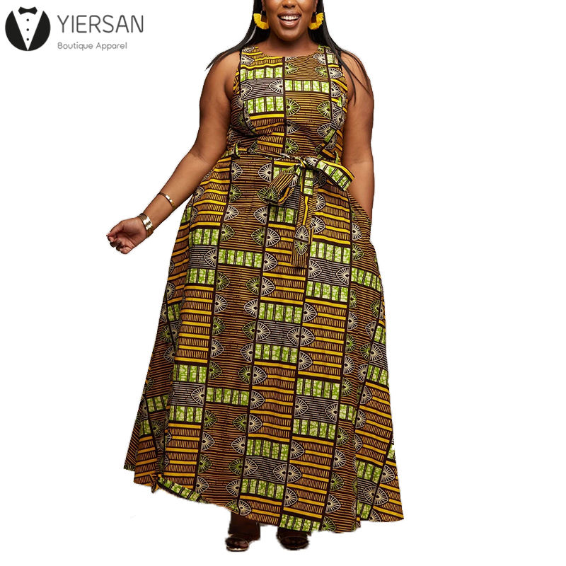 New Arrival O Neck Sleeveless African Pattern Print Maxi Long Dress For Women