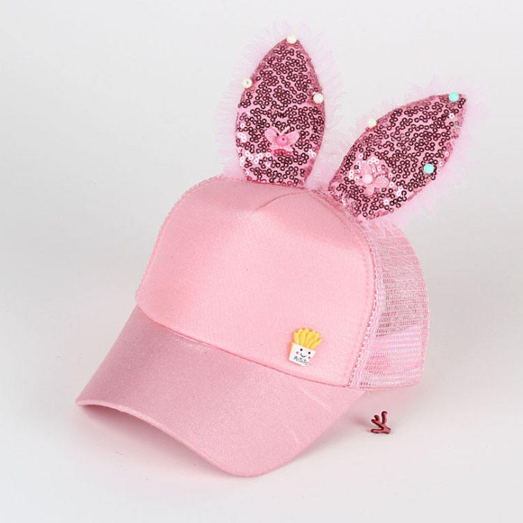 2019 high quality Children Baseball Cap hats Girls Snapback Hip Hop Caps Rabbit Ear sequins mesh cap