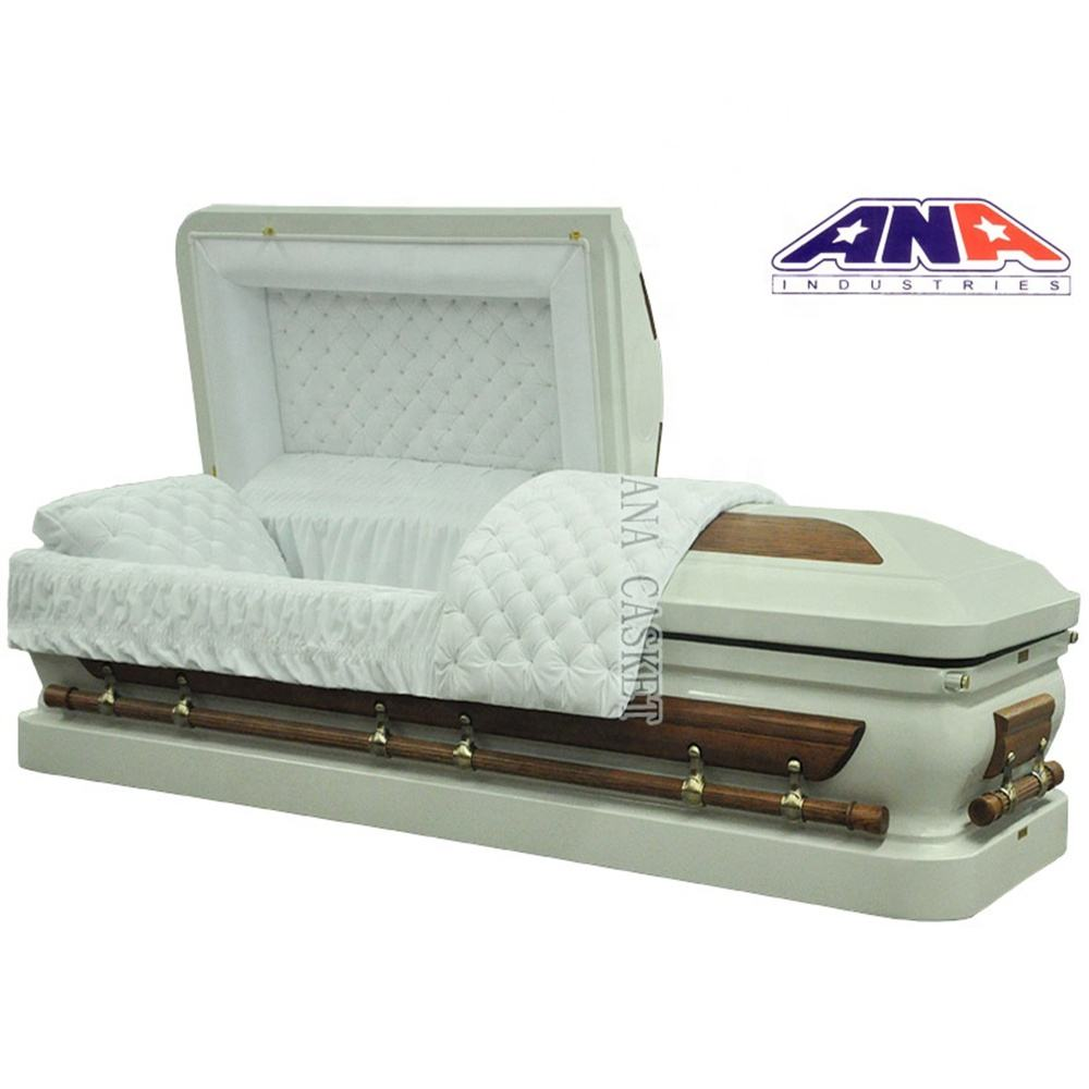 ANA hot sale US style new design wood and metal funeral coffin and casket