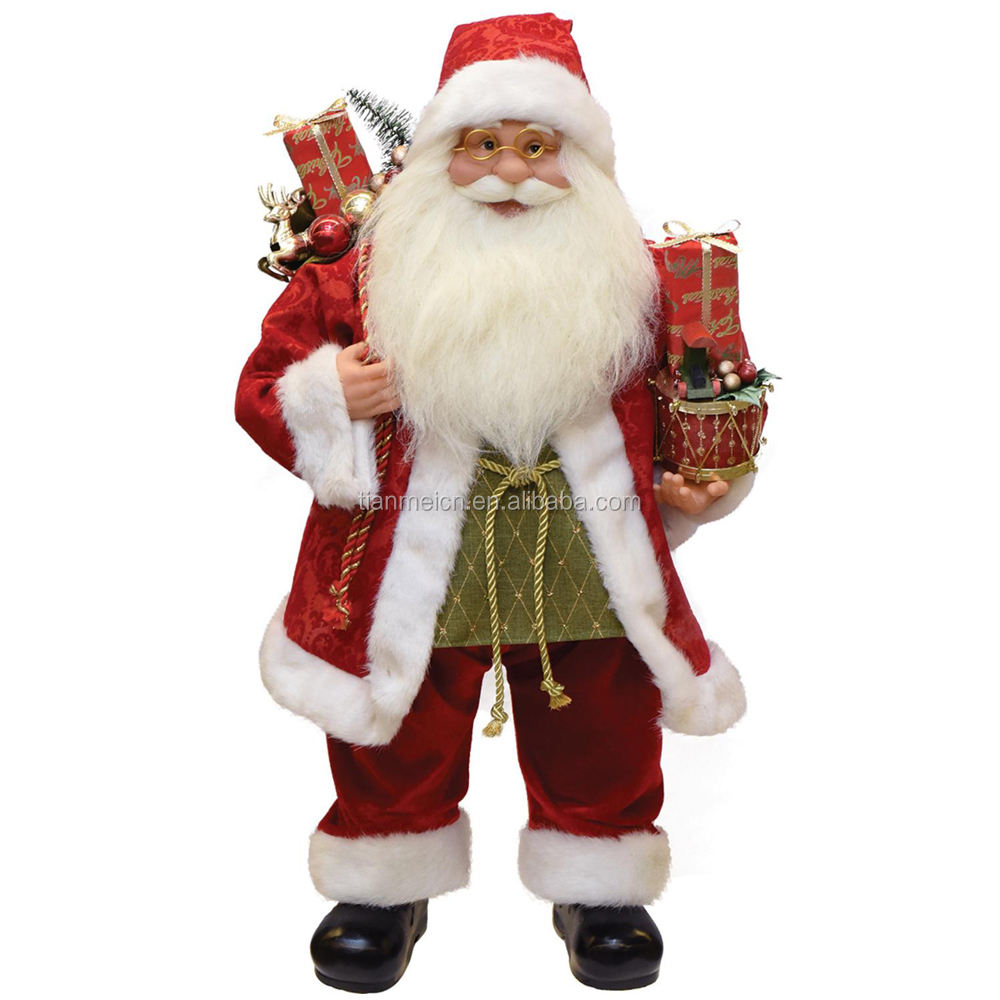 60cm Christmas Standing Santa Claus Ornament Decoration Figurine Collection Fabric Custom Items Holiday Festival Xmas Plush