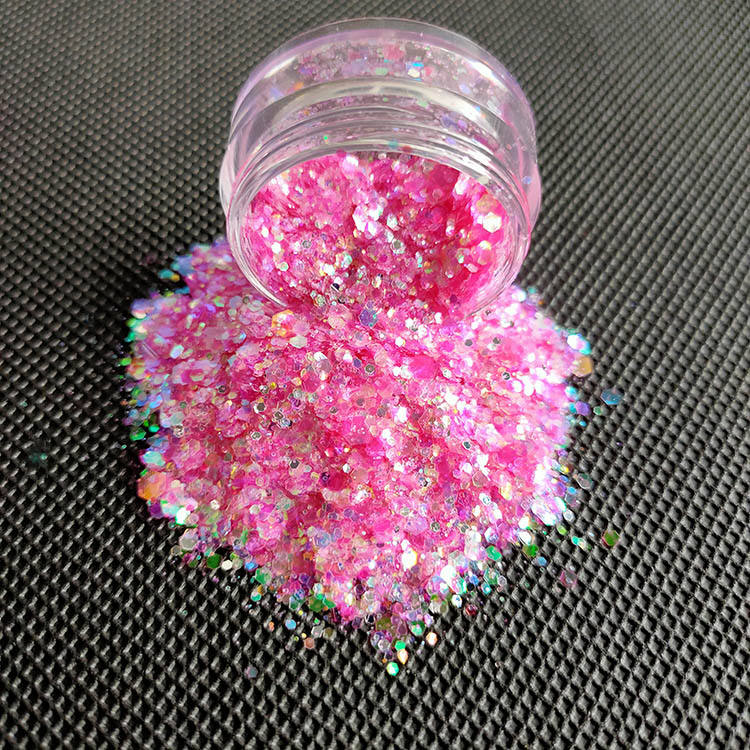 Wholesale Beauty Cosmetic Chunky pink glitter for Hair Body Nail Face DIY Crafts