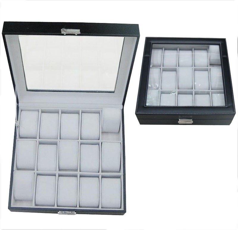 box for watches 15 grid PU leather watch case for rolex GC02-PU-15