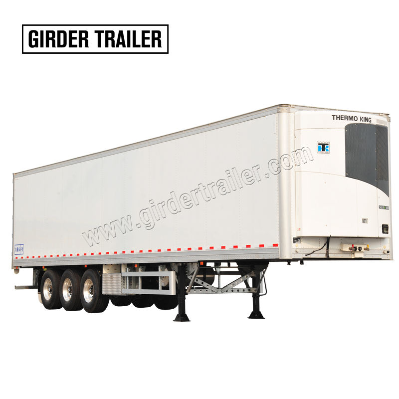 3 axles reefer cold frozen cargo transporting box refrigerator van semi trailer with thermo king
