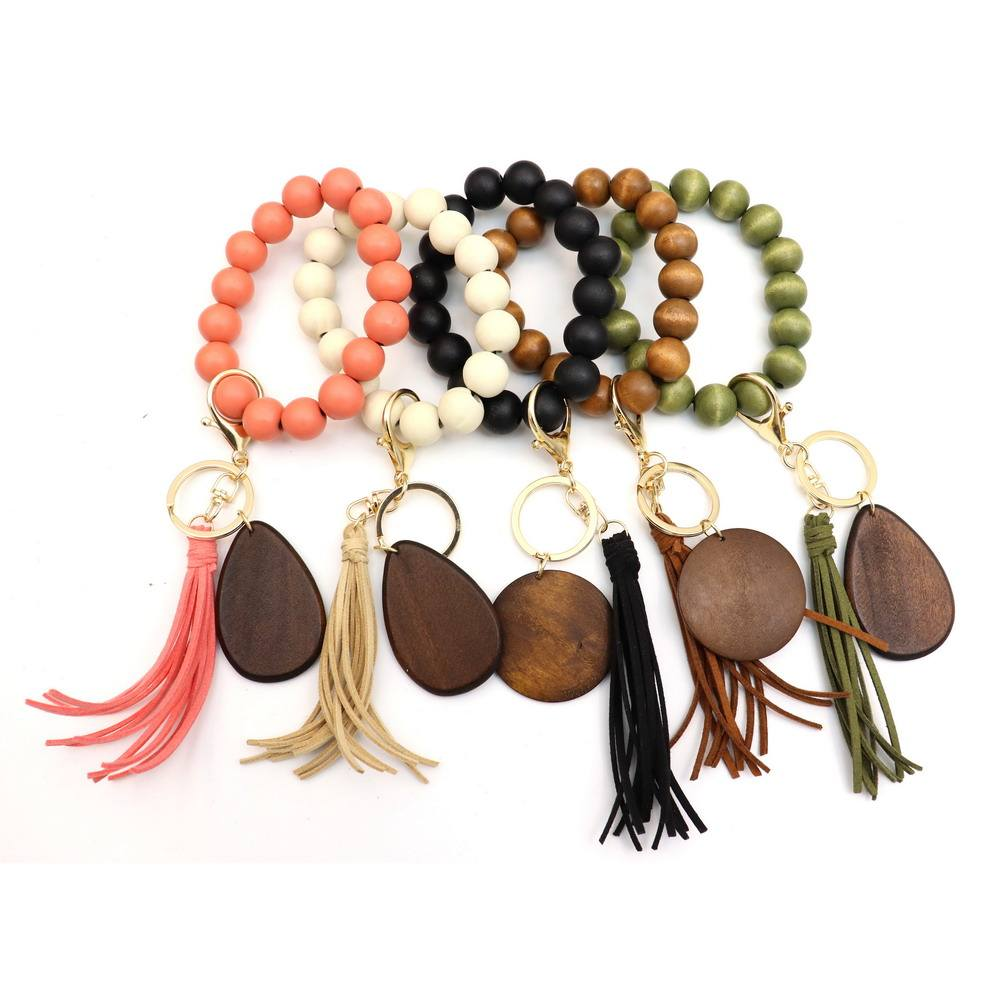 Personalized Cheap Wholesale Wood Elastic Handmade Colored Beaded Bracelet Tassel Keychains