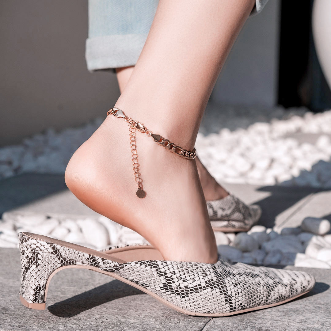 KRKC Dainty 14k 18k Rose Gold Plated Filled Charm Figaro Anklets Foot Jewelry Chains Women's Stainless Steel Anklet for Women