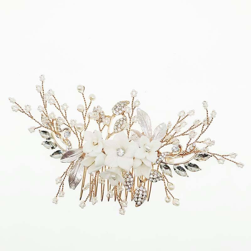 2019 Newest Handmade White Ceramic Flowers Wedding Hair Jewelry Accessories Bridal Gold Leaf Flower Hairband Hair Combs For Wome