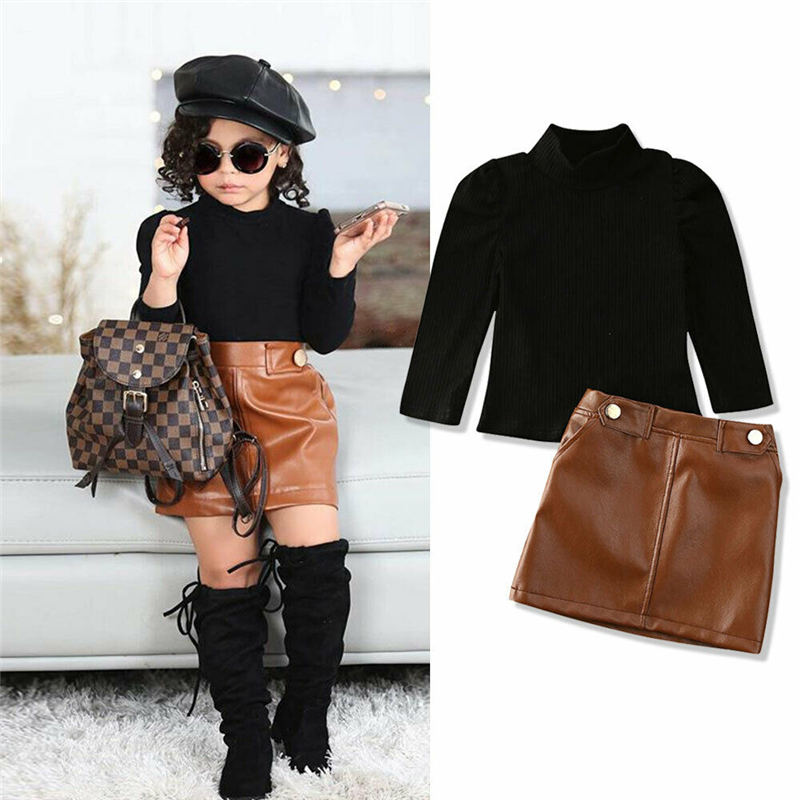 New Spring New Arrival Girls Fashion Clothes Set 2 Pieces Suit Sweater Tops+pu Leather Skirt Kids Sets Girls Clothes 0-5 Years