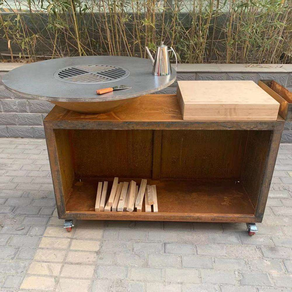 Cheap Outdoor Homemade Corten Metal BBQ Grill with wood storage