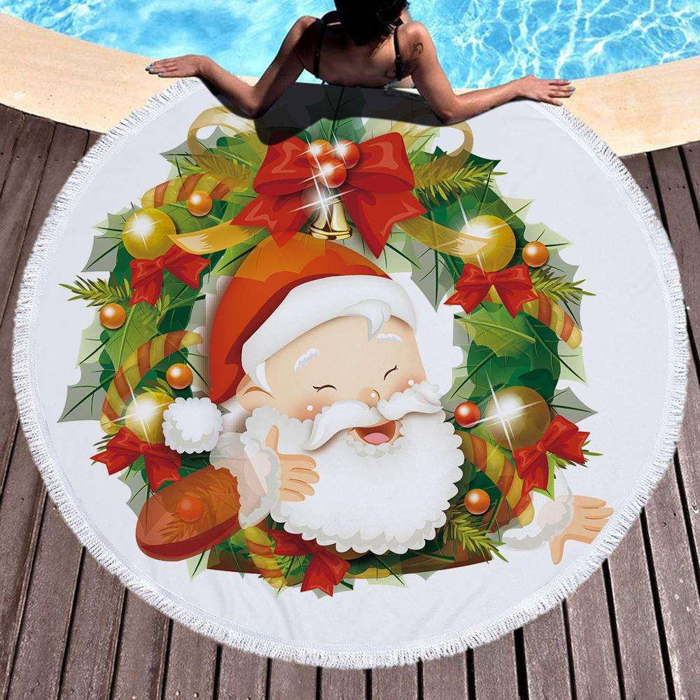 Christmas Pattern Round Beach Towel With Tassels Microfiber Fabric Bath Towel Custom Design Printed with NO MOQ party decorating