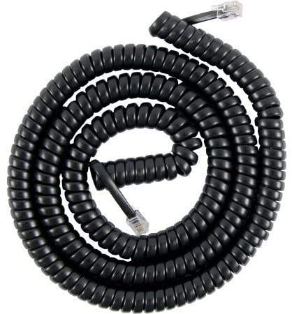 Black 12FT RJ11 male to male Coiled Telephone Phone Handset Cable Cord for Phone Modem Fax Machine Caller ID