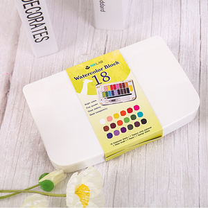 Professional 18/36 bright colors water colour paint set watercolor block