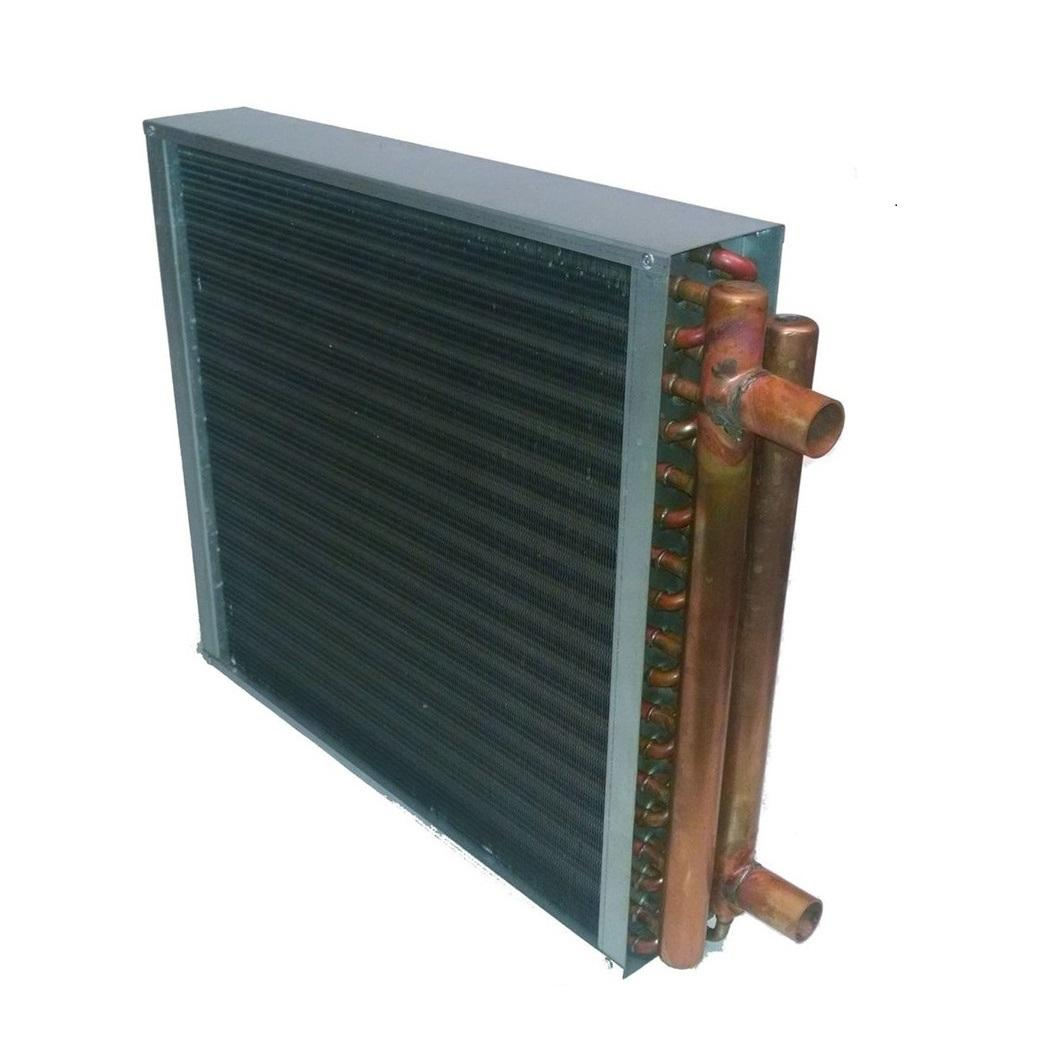 Hot water to air heat exchanger heating coils