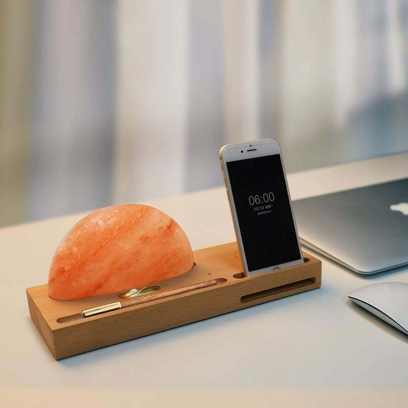 creative sunrise grow himalayan salt lamp with wireless charger led table atmosphere lamp