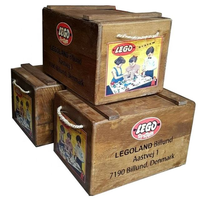 NEW Lego Wooden Storage Box Vintage Style Retro Toy Chest