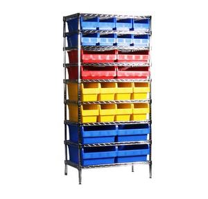 plastic storage bin wire rack shelving used in warehouse and garage