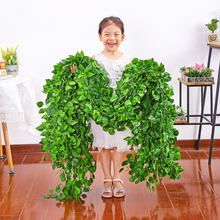 Stock hanging silk fabric and plastic ivy begonia leaves vines garland plants artificial greenery creeper