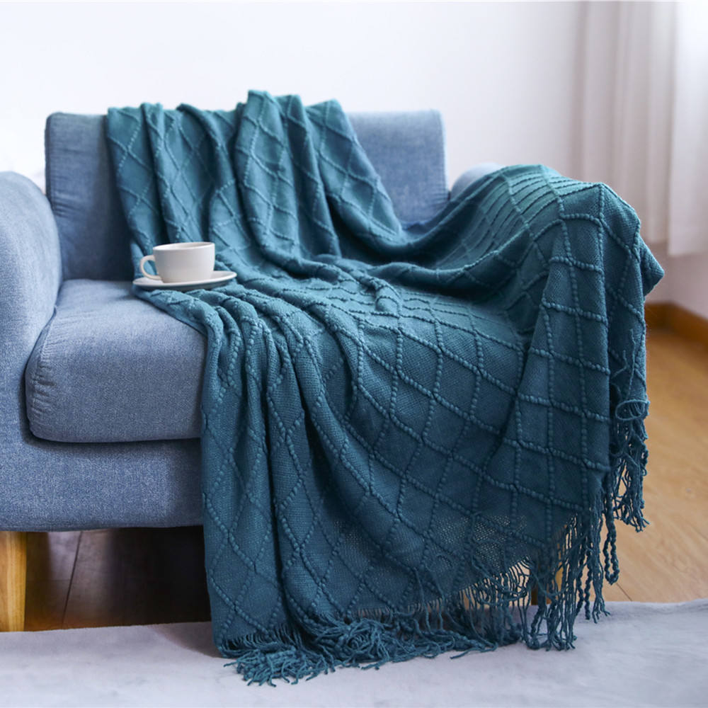 knitted throw living room blankets wool adult soft arm knitted blanket king size