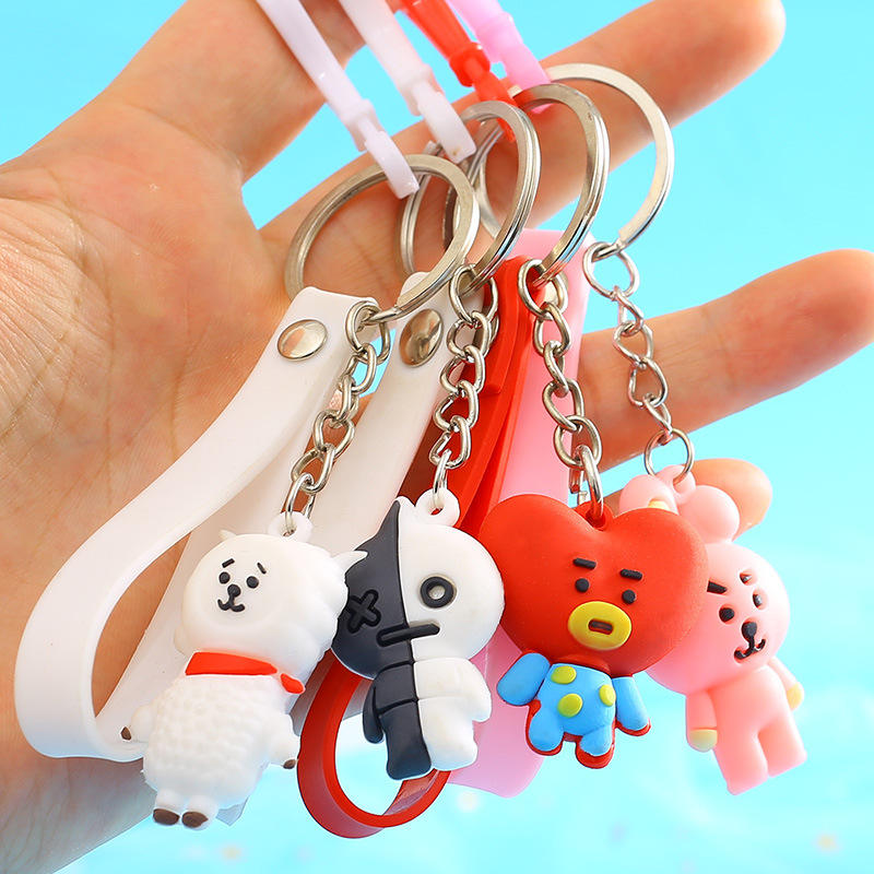 2020 New Keyring Soft Pvc Rubber Wristband Silicone 3d Kpop Plastic Custom Bute Bts Keychain Manufacturer