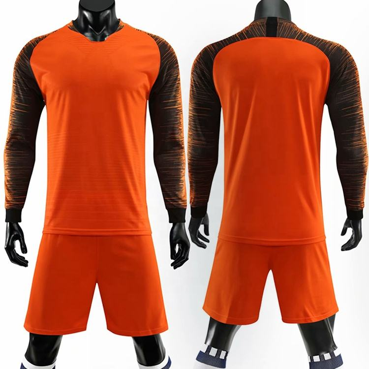 Orange soccer uniforms full sleeve football jersey set blank soccer shirts