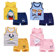 2020 summer new children's vest suit pure cotton baby boys and girls sleeveless shorts clothes set