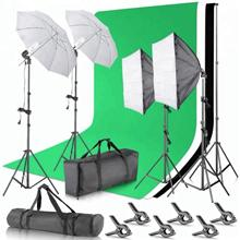 Photography Studio Softbox Backdrop Umbrella Photo Light Kit