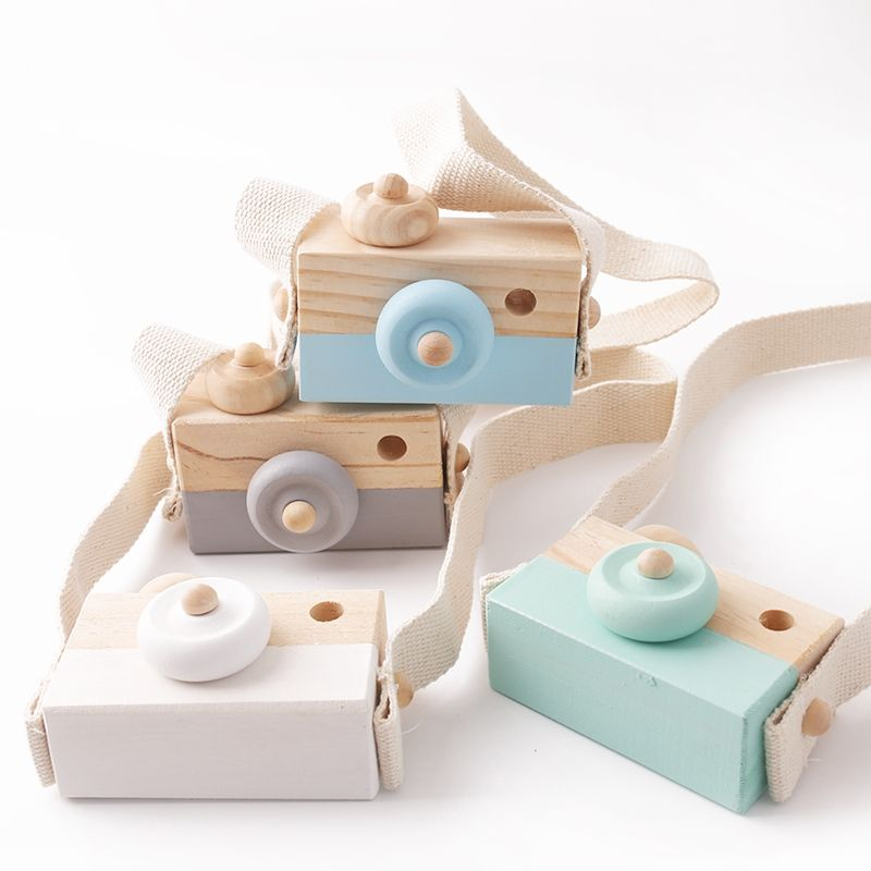 Wholesale Custom logo Children Gift Toddler Toy Wooden Painted Camera Toys for Pretend Play