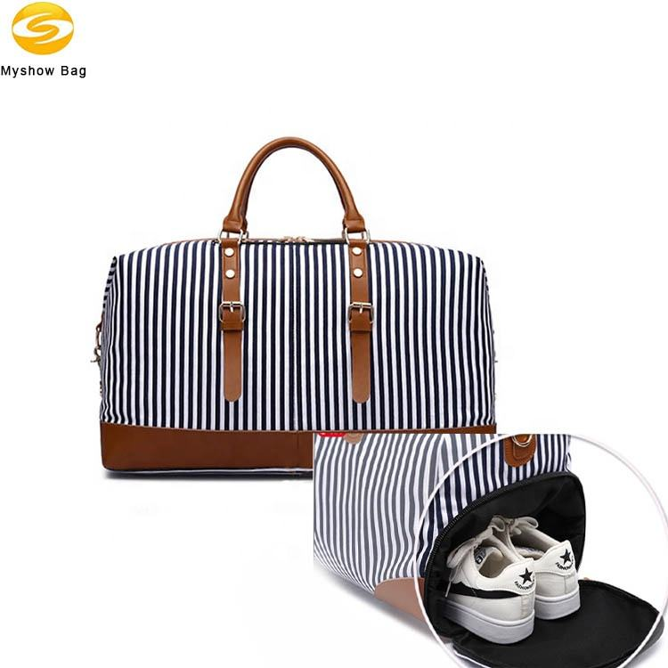 New Striped Portable Messenger Travel Bag Large Capacity Fashion Travel Bag Duffel Bag With Shoe Compartment