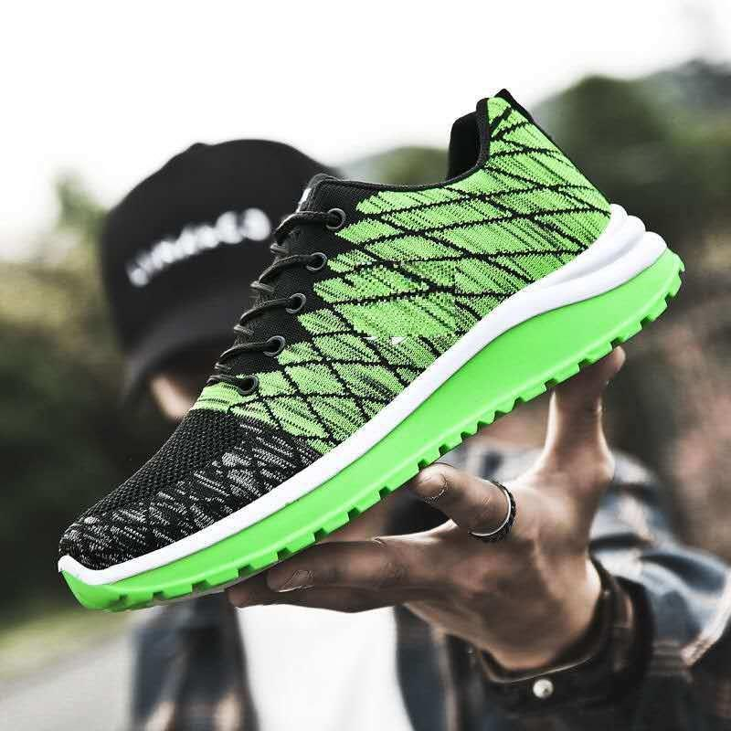 OEM custom fashion men Lightweight Air Breathable Weave Mesh sport shoes