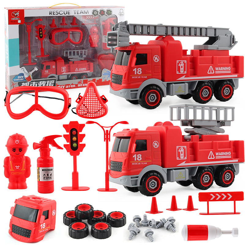 Plastic Toy Car Fire Engine Truck Toy City Rescue Vehicle Kid's Toys City Fire Control Car Toys