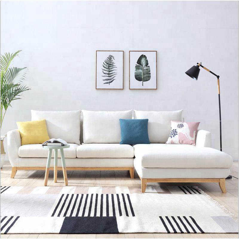 De calidad superior muebles para el hogar aplicación nueva en forma de L habitación sofá de tela diseños
