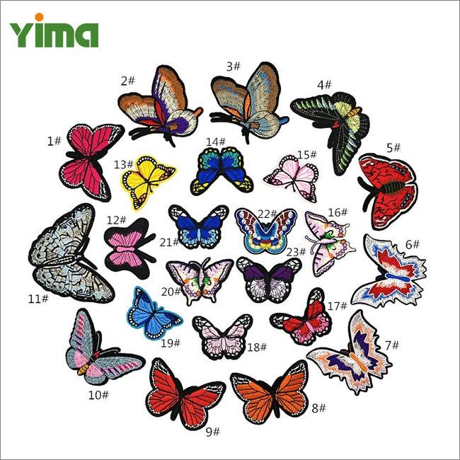 Graphic Customization [ Custom Iron Embroidery ] Iron On Embroidery Patch Custom Wholesale Cute Small And Large 3D Organza Butterfly Iron On Embroidery Patch Applique For Kids Clothing Dress Jeans