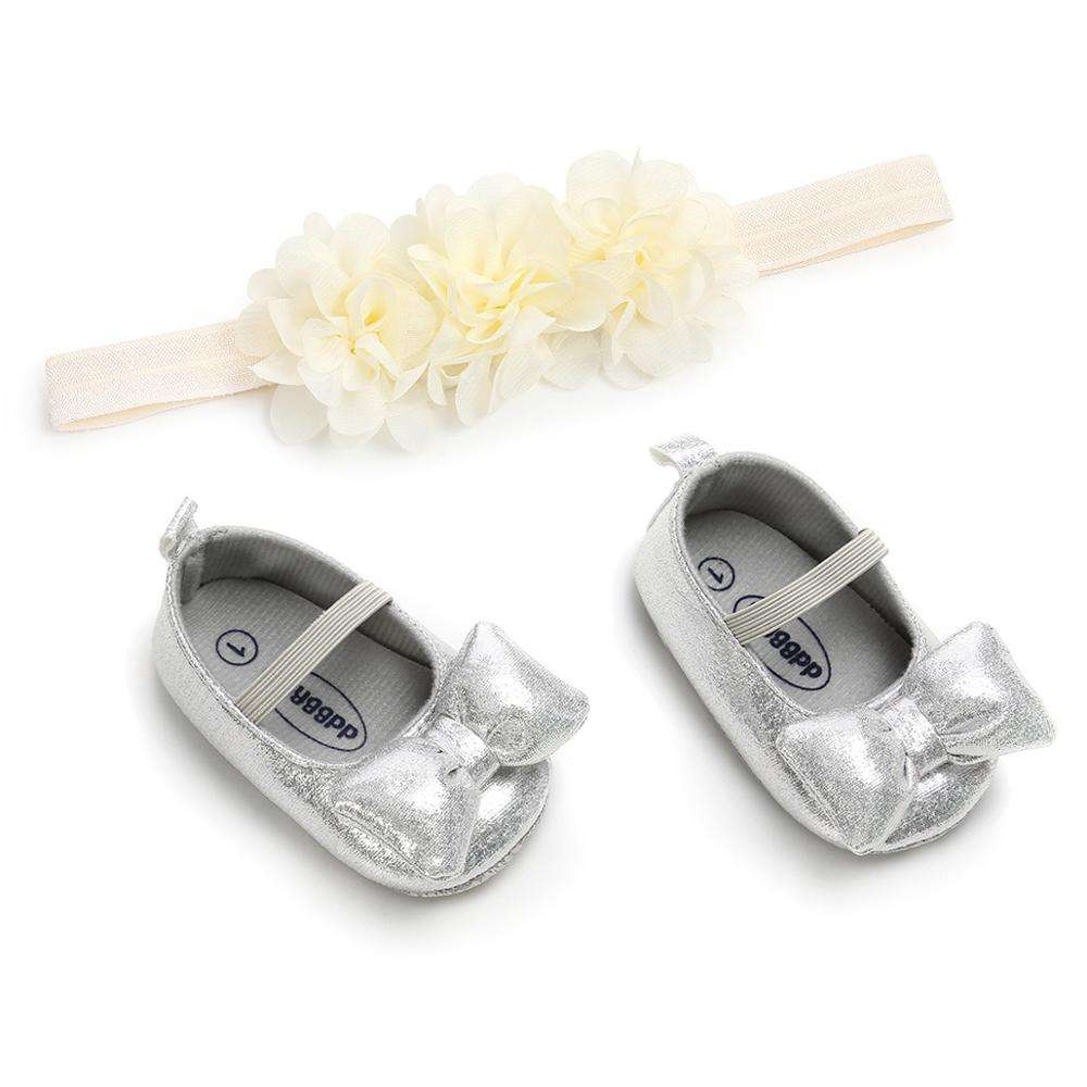 Baby Leather Shoes Custom Sequin Baby Shoes With Flower Headband Set Flower Shoes Walkers Leather Shoes Party Gift