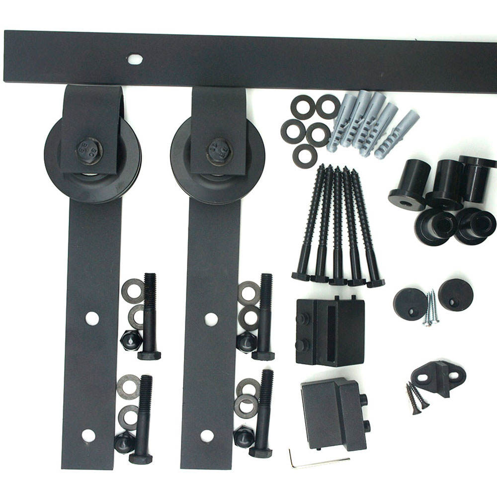 ceiling mounted metal sliding barn door hardware fittings wrought iron sliding system accessories for doors