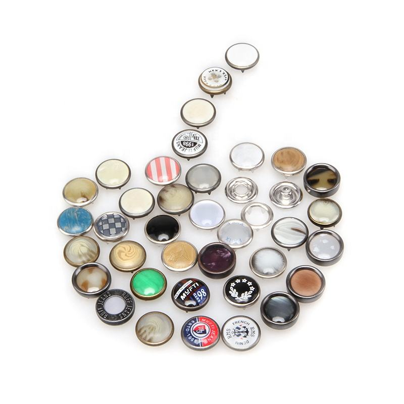 Custom Logo Resin Rhinestone Pearl Sewing Jeans Shirt Round Press Brass Metal Snap Button For Clothes