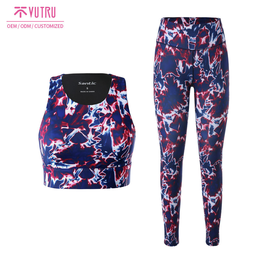 Gym Leggings Women Fitness Customized Women Ladies Fitness Sublimation Printing Yoga Tops And Leggings Sport Gym Wear Suits Eco Friendly
