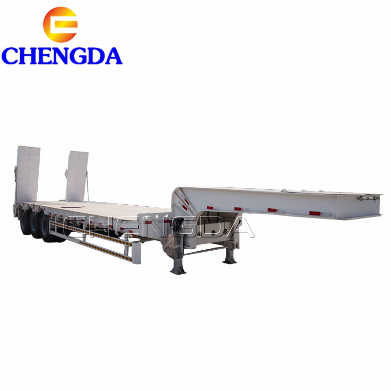 Hot sale 3 axis 4 axle 60 80 100 tons heavy duty gooseneck low loader low bed lowboy truck lowbed semi trailer