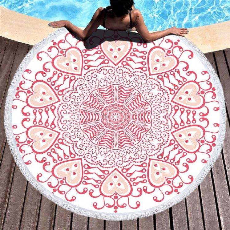 Tassel Fringe Flamingo Cotton Pineapple Thick Microfiber Terry Round Beach Towel