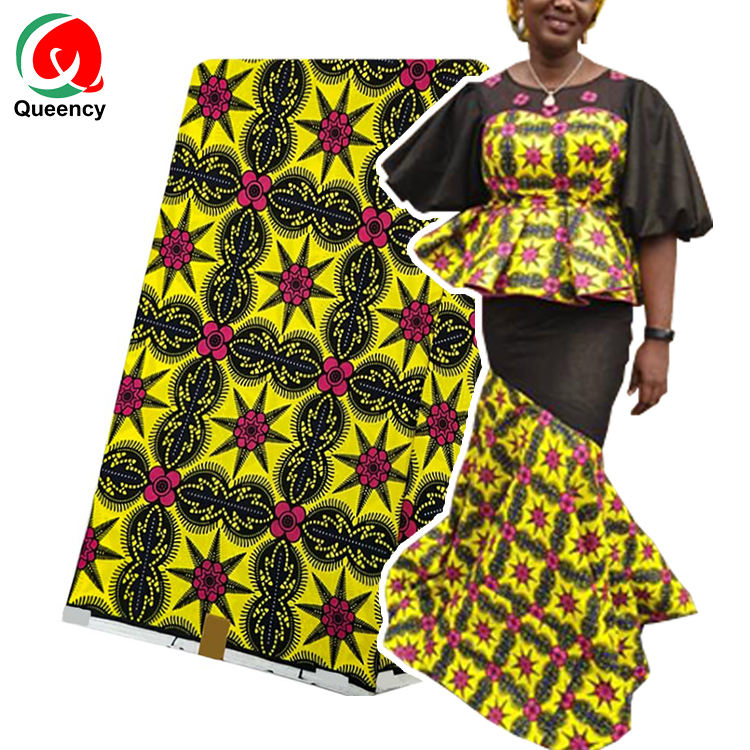 Queency 2020 Trendy African Wax Fabric Ankara Wax Print Fabric Yellow Flowers Design