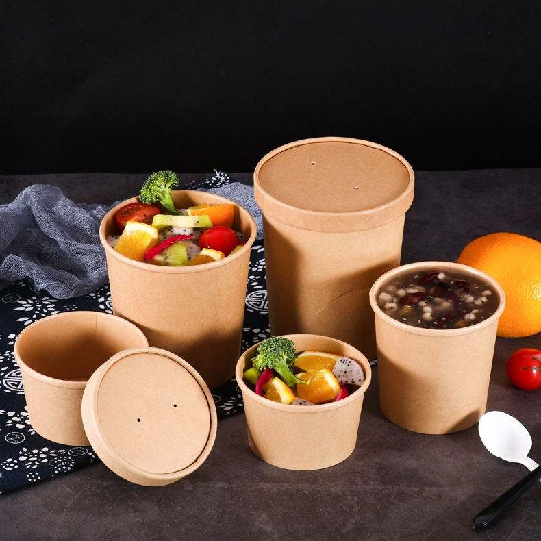 Kraft /White Disposable Paper Soup Cups /Tubs/Bowl with Paper Lids