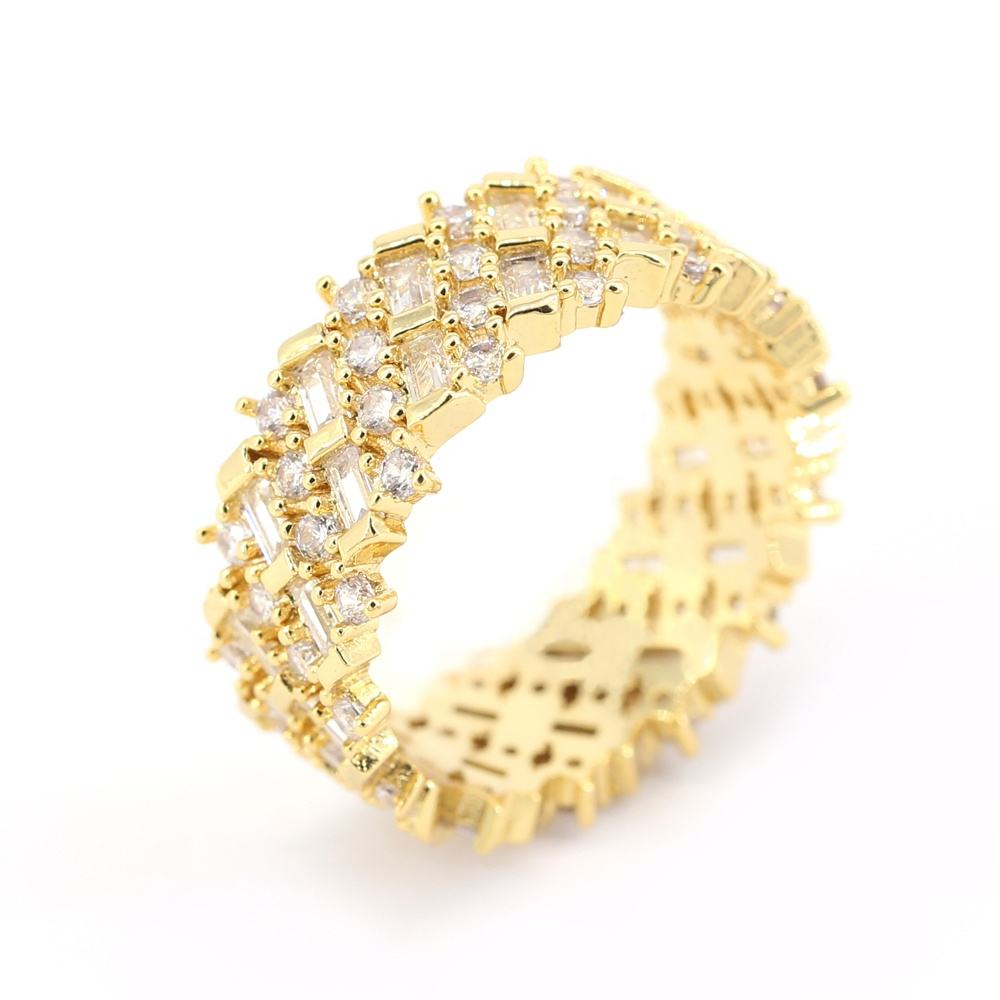 Trendy copper finger ring pave clear crystal cz stones custom jewelry