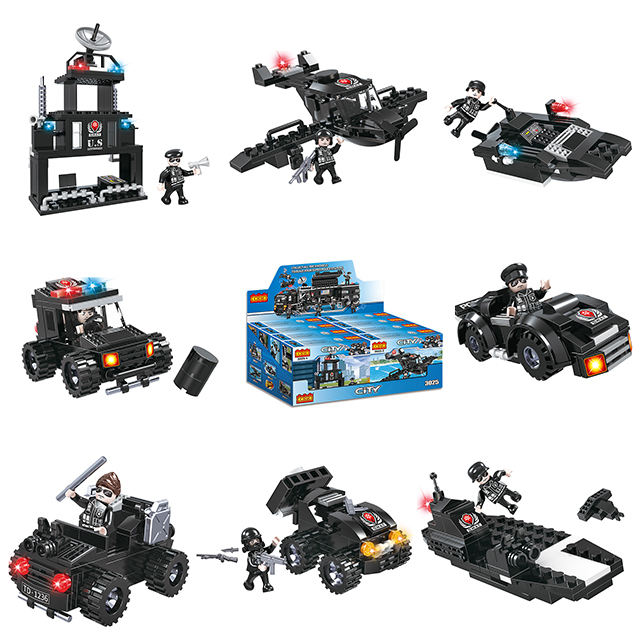 COGO Police 8 in 1 Deformation Swat Citys Truck Educational Building Blocks Sets for Kids