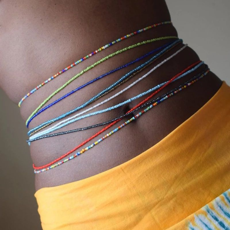 2020 Wholesale Bohemian Multi Layer Colored Seed Bead African Waist Beads For Women