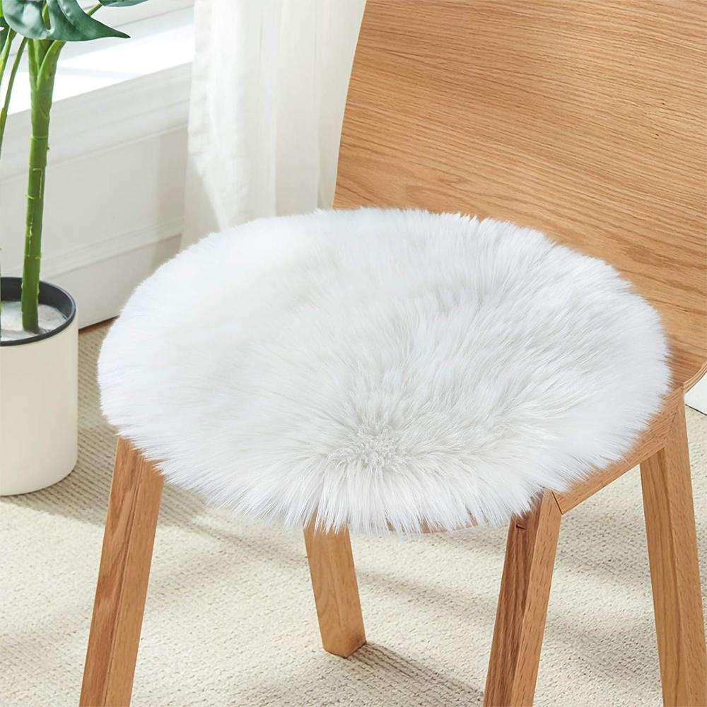 Winter Soft Shaggy Sheepskin Faux Fur Cushion For Sofa Bed Chair Seat
