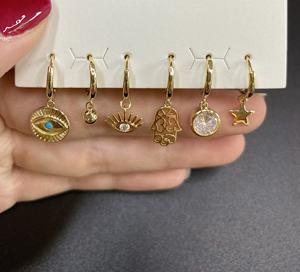 Wholesale fashion simple glamour eyes unique set suit aretes pendiente diamant high quality multicolor jewelry Earrings