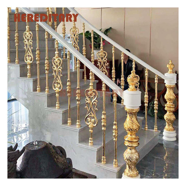 Prefab indoor white stair casting aluminum railing balustrade for hotel