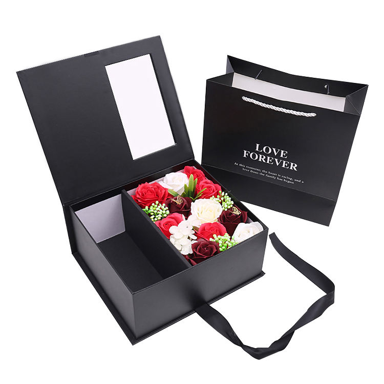 Custom luxury gift packaging preserved rose bouquet flower box
