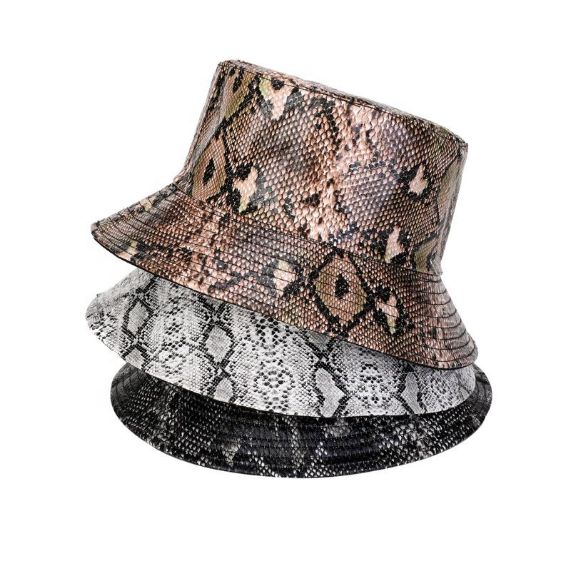 Unisex new PU snake pattern fisherman summer leisure double-sided wear basin hat outdoor shade fisherman bucket hat